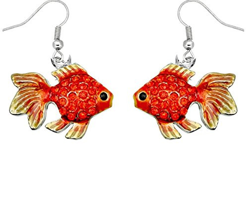 DianaL Boutique Silvertone Rhodium Plated Beautiful Tropical Fish Goldfish Earrings with a Gift Box