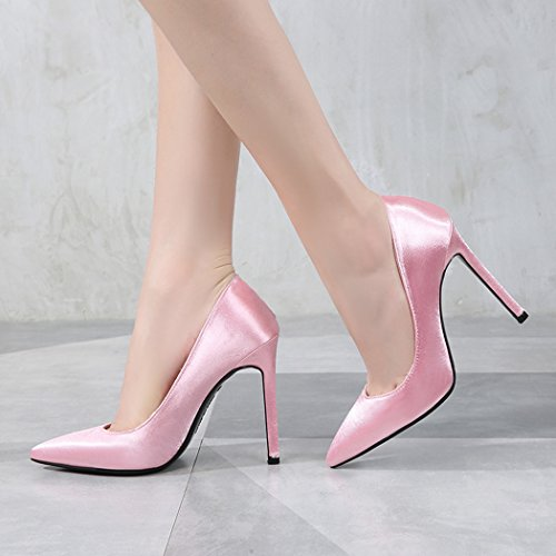 Silkki Suljettu Teräväkärkiset Naisten Korkokengät Kengät Klassinen Pumput Pukeutua Vaaleanpunainen Samsay ZWRxwnfYw