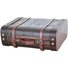 Vintiquewise(TM) Decorative Wooden Leather Suitcase