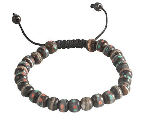 Tribe Azure Fair Trade Tibetan Embedded Yak Bone Medicine Wrist Mala Bracelet Meditation Healing Prayer Beads