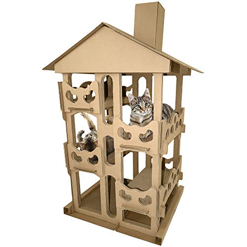 FurHaven Pet Cat Scratcher | Tower Playground Corrugated Cat Scratcher House w/ Catnip, Cardboard (Brown), One Size ()