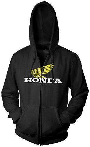 Honda Zip Hoody - Honda Mens Wing Hoody Zip Sweatshirt/Sweater, Black, Small
