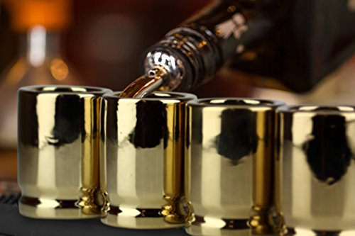 Barbuzzo 50 Caliber Shot Glass - Set of 4 Shot Glasses Shaped like Bullet Casings - Step up to the Bar, Line 'Em Up, and Take Your Best Shot - Great Addition to the Mancave - Each Shot Holds 2-Ounces by Barbuzzo (Image #4)