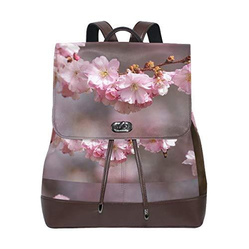 (FAJRO Cherry Blossom TreeTravel Backpack Leather Handbag School Pack)