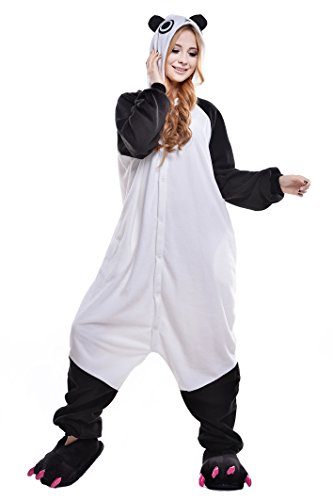 Newcosplay Unisex Adult Cosplay Pyjamas Halloween Cartoon Onesie Costumes (L, Panda)]()