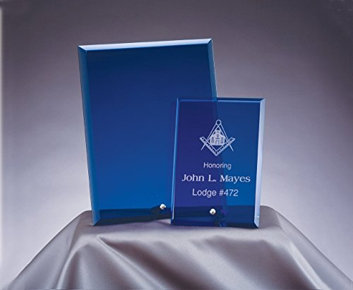 - Woltman - 8X10 BLUE STANDING GLASS PLAQUE WITH BEVEL EDGE AND WHITE GIFT BOX