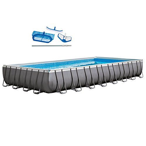 Large Swimming Pool (Intex 32ft X 16ft X 52in Rectangular Ultra Frame Pool Set with Filter Pump & Saltwater System)
