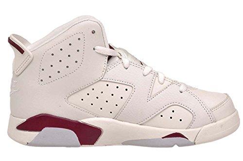 Nike Jordan 6 Retro BP, Zapatillas de Deporte para Niños Blanco / Rojo (Off White / New Maroon)