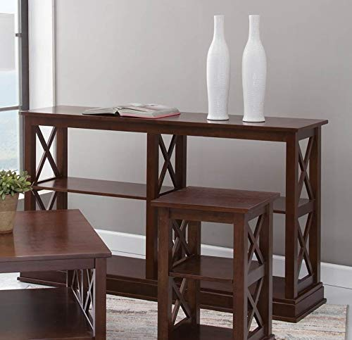 Hampton Square Sofa Table with Shelves Espresso - International Concepts
