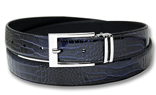 Blue Croc Leather - Biagio Croc Embossed NAVY BLUE Mens Bonded Leather Belt Silver-Tone Buckle sz 34