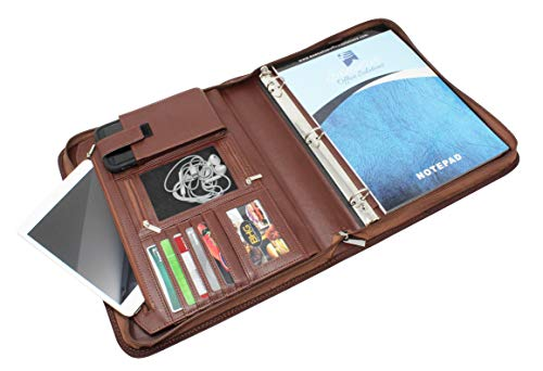 Professional Business Padfolio Portfolio Organizer Interview Folder with Notepad and Removable 3 Ring Binder, Card Slots, Multiple Zippered Pockets – Almond Brown Synthetic Leather -