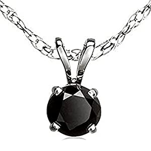 1.50 Carat (ctw) 14K White Gold Round Cut Black Diamond Ladies Solitaire Pendant 1 1/2 CT