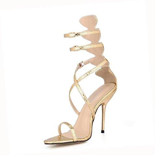 Best 4U® Sandalias de verano para mujer Premium PU Cómodas bombas básicas Correas cruzadas Cremallera Peep toe 10.7CM Tacones altos Zapatos de goma de la suela de la boda , Oro , EU39