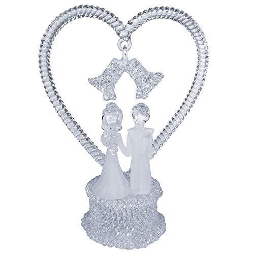 Bride and Groom Figurine Hand Blown Glass Wedding Cake - Glass Cake Blown Wedding Hand Toppers