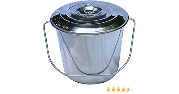 and Open Lip Edge 18 Qt Pail with Lid Stainless Steel Milk Pail Bucket with Lid Handle Also Good for Compost