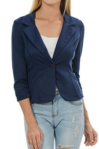 Yourstyle USA Casual Three Quarter Sleeve Fitted Blazer-MADE IN USA (Large, Navy Blue)