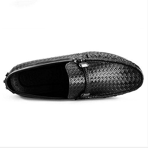 Mens Leather Casual Shoes Kleid Tuxedo Business Hochzeit Mode Rutschen Schwarzbraun C