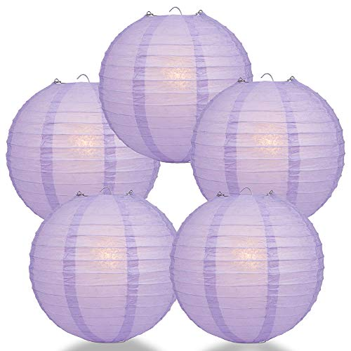 Lavender Lanterns - Quasimoon PaperLanternStore.com (5-Pack) 12 Inch Lavender Round Paper Lantern, Even Ribbing, Hanging Decoration