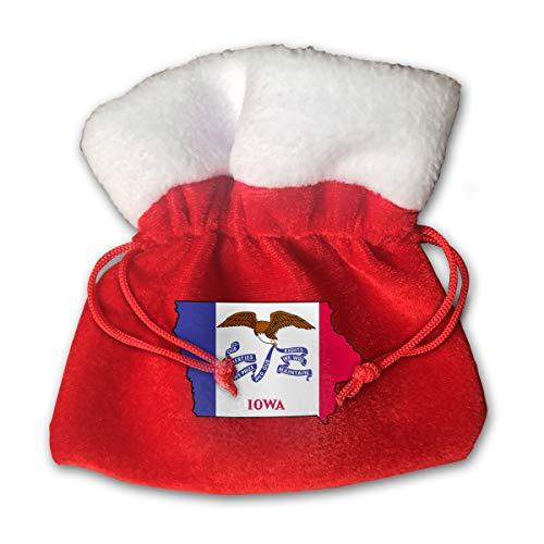 MNBVCX Iowa Flag Map Christmas Candy Bag Santa Gift Treat Bag Drawstring Pocket Christmas Tote Stocking Ornament Decoration