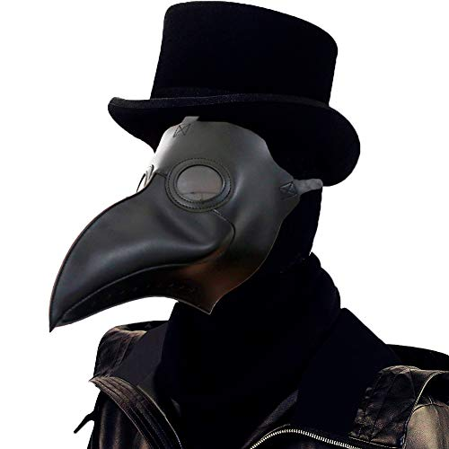 Lubber Plague Doctor Bird Mask Gothic Cosplay Retro Steampunk Props for Halloween Costume (Simple Black) -