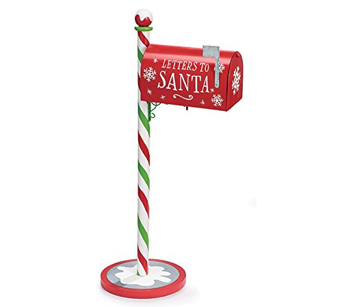 Burton Christmas Letters to Santa Galvanized Tin Mail Box Tall Standing with Post