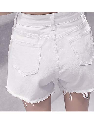 YFLTZ Shorts Jeans Mujer Color Pantalones Active White para Sólido pxfCx