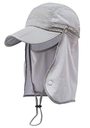 ELLEWIN Outdoor Fishing Flap Hat UPF50 Sun Cap Removable Mesh Face Neck Cover, D-light Grey /Mesh Neck Cover, M-L-XL
