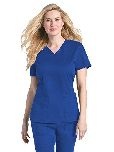Size Women's Prewashed V-Neck Two Pocket Scrub TOP Shirt, Royal Blue, 4X-Large ()