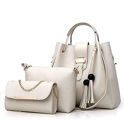 df12594e0b Amazon.com: 3Pcs/Sets Women Handbags Leather Shoulder Bags Female Large  Capacity Casual Tote Bag Tassel Bucket Purses and Handbags Sac Femme Color  White: ...
