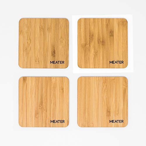 MEATER Natural Bamboo Drink Coasters - Set of 4 100% Eco-Friendly Stylish Coasters for Beer, Coffee, Martinis, and Wine Coolers (Meater The First Truly Wireless Smart Meat Thermometer)