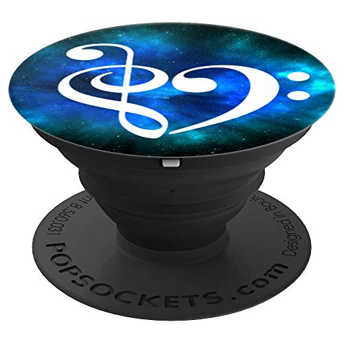Treble Clef + Bass Clef Heart Music Bassist Blue Green Nebula - PopSockets Grip and Stand for Phones and Tablets