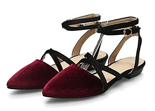 Sandales Avec Mode Bas Femme Boucle Talon Crois Bout Aisun Pointu fqY6Ow1