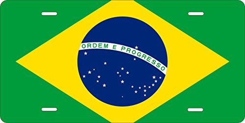 (Brazil Flag Personalized Custom Novelty Tag Vehicle Car Auto Motorcycle Moped Bike Bicycle License Plate)