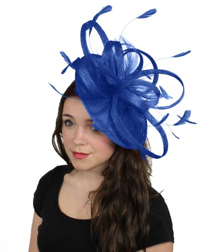 Hats By Cressida 13 Inch Million Dollar Sinamay Ascot Fascinator Hat Women's With Headband - Royal Blue by Hats By Cressida