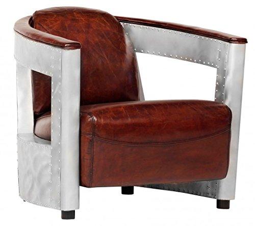 Casa Padrino Echt Leder Art Deco Sessel Chrom Braun Club Sessel
