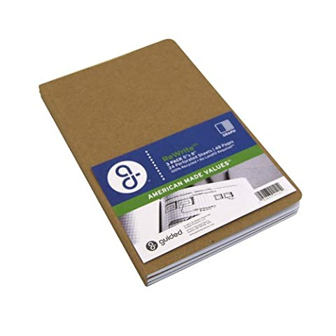 Guided Products ReWrite 5 x 8 Inches, Graph Recycled Notebook, 48 Pages, 3 Pack (GDP00121)
