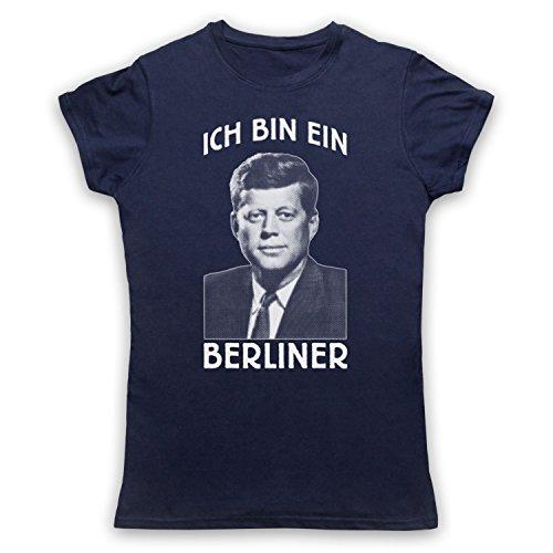 JFK Ich Bin Ein Berliner Camiseta para Mujer Azul Marino