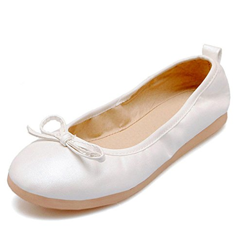 Slip Travel Women on Flats Shoes Bowknot Casual up Round White Fold Toe Ballet FzEq8