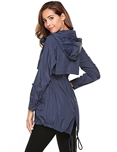 Meaneor with color Jackets Hoodie Lightweight Champlain Drawstring Sleeve Solid Women Long Raincoat rFwagnqrxW
