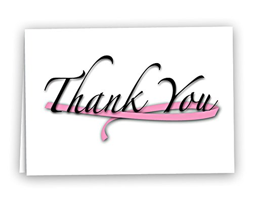Breast Cancer Awareness Pink''Thanks You'' Note Cards (12 Cards - Wholesale) by Fundraising For A Cause