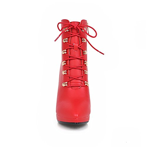 Faux Ankle Sexy High Boots Motorcylce Boots High White Leather up Pointed Women's Heel Dress Red Lace Toe nv0ZdwqTS