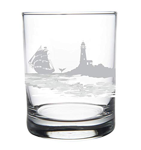 - Nautical Whiskey Rocks Glass-14oz. Tumbler-Lighthouse with vintage sailboat
