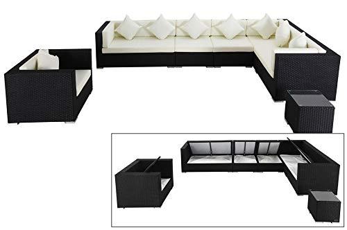 OUTFLEXX Exklusives Lounge-Set aus hochwertigem Polyrattan in schwarz, 3-Sitzersofa, 2-Sitzer + 2 Mittelelemente, 1 Sessel + Beistelltisch, inkl. Kissenpolster, für 8 Personen, Boxfunktion
