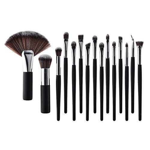 15PCS Makekup Brush Set Fan Shape Angled Eye Shadow Liner Concealer Comestic (Color - Silver) ()