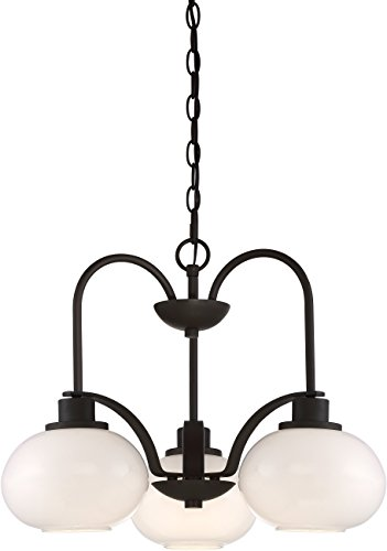 Quoizel LWS2999C Tribeca Hanging Dining Room Chandelier Lighting, Glass Shades, 3-Light 300watts, Old Bronze - Tribeca 6 Light Chandelier