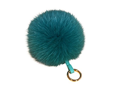 Genuine Fox - ETENOVA Genuine Fox Fur Pom Pom Keychain Fluffy Fur Ball Keychain Car Keyring Womens Handbag Charms