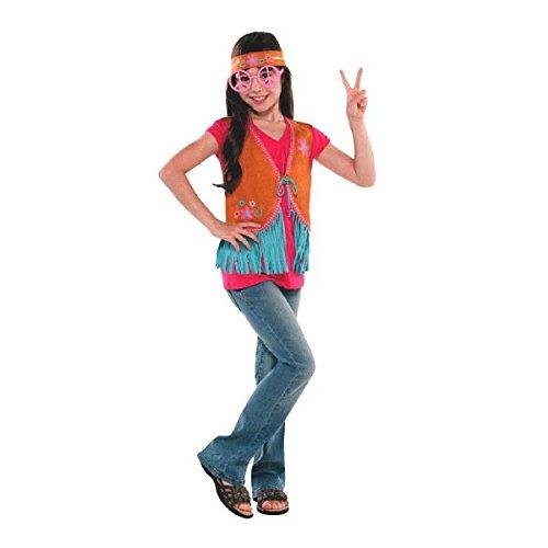 [Amscan Hippie Chick Birthday Party Costume Set Wearables (3 Pack), Medium/8-10, Orange/Blue] (Girl Hippie Costumes)