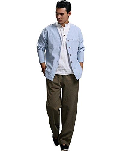 Pantalons Hommes Armée Taille Lin Coton Youlee Verte Élastique Aaz1Bwzxq