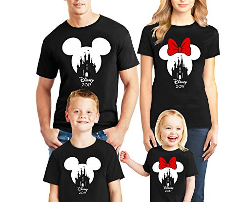 Natural Underwear Family Trip #7 Mickey Mouse Minnie Mouse Ears Castle Magic Kingdom Family Vacation 2019 Men Women Youth Kids Cotton Crew Neck T Shirts Black Women Small