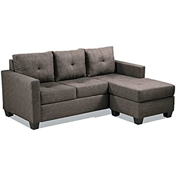Homelegance Phelps Contemporary Tufted Sectional Sofa with Reversible Chaise Grayish Brown  sc 1 st  Amazon.com : gray sectional sofa - Sectionals, Sofas & Couches